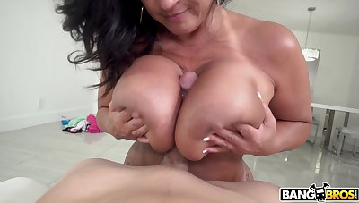 Busty Adult handles bloke's renowned dick in real POV