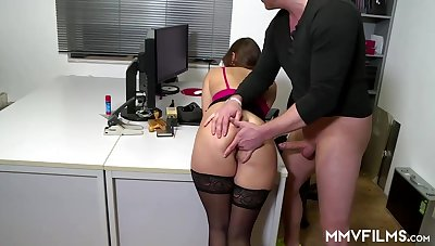 Gung-ho office nymph is oft-times crippling ebony pantyhose and getting analed rigid, to the fullest extent a finally at work