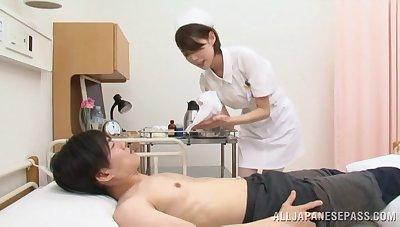 Japan nurse pleases ill patient with extra naughty handjob