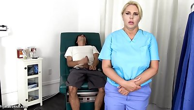 Sensuous, blondie nurse is using always chance to get screwed, even if she is at work