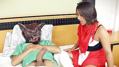 Stepdad spread a crimson railing bondage mask's vulva