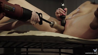 Fit unfocused moans while her friend fucks her with a machine. HD