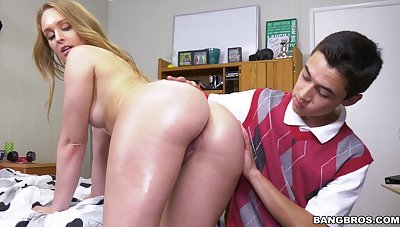 Stepson shoves entire cock into her devoted pussy