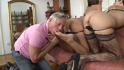 Older man with a diseased gumshoe fucks butts of cute Alexis Cash & Meg Magic