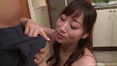 Instead of a lunch horny Japanese takes hard penis in the kitchen