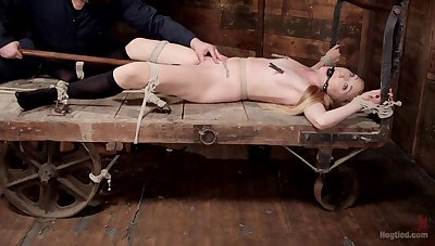 Obedient blonde girl sits gagged and restrained for a whole XXX play