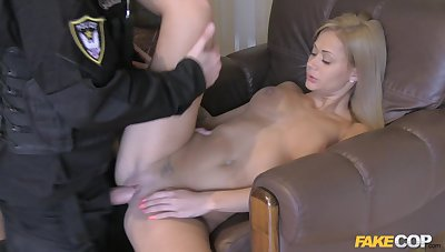 Cop fucks this blonde babe then cums on her chest