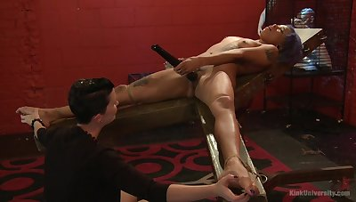 Mistress shows younger slave sweeping proper oral stimulation