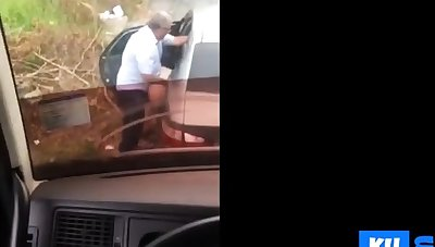 Hidden cam older man fucks with the street