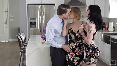 Young wed invites sexy colleague Rosalyn Sphinx for threesome sex