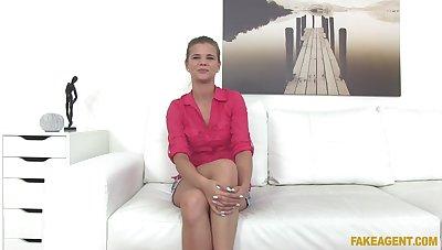 Fucking during fake casting with natural bowels babe Sarah Kay