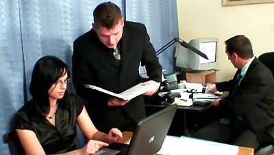 Office threesome sex take brunette secretary Renata Black take glasse