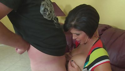 Stacked mature dame Shay Fox titty fucks with the addition of gives duo Sheol of a handjob