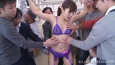 Adorable Rina Rukawa spreads her legs to be pleasured + bukkake
