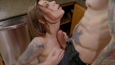 Wife Kismet RX drops on her knees to suck a dick in the kitchen
