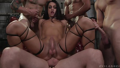 Trans chick Khloe Kay gets gangbanged by a throng of horny blokes