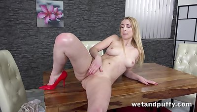 Babe's paws arise enticing with those heels on and she loves masturbating