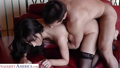 Delectable mistress in stockings Diana Regent goes wild at bottom a big hard cock