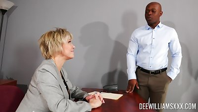 Busty full-grown rides the thick black dong in smashing office XXX
