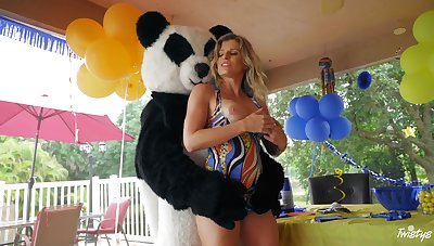 Itchy mom unconditional loves fucking with the young dude in Panda costume