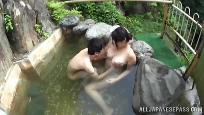 Outdoors fucking in the natural pool adjacent to a large special Asian chick