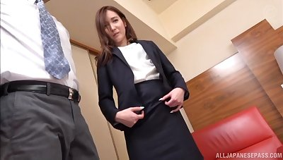 Japanese girl drops her panties to be pleasured by her boss