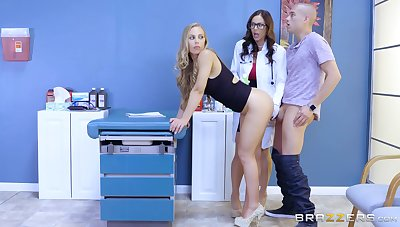 Medical office threesome around a stud, Kendra Lust and Nicole Aniston
