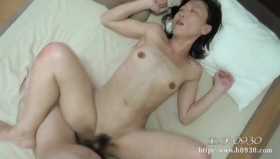 Skinny Asian mature with hairy cunt fucked by young cock
