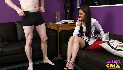 Brunette chick Lucy Heart strokes and sucks a unearth of a lucky guy