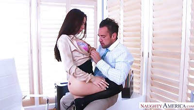 Long haired brown cowgirl with big botheration Lana Rhoades loves riding cock
