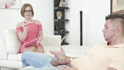Horny model Sasha Zima takes a giant dick in her mouth coupled with pussy