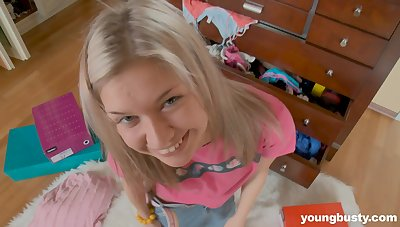 Naturally busty teen has a pretty smile and she loves masturbating a lot