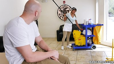 Cleaning babe is set to devour some proper dick this time